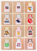 Wholesale 8PCS/LOT 2014 baby boy vest baby girl Kids Tanks Toddlers  Wholesale Summer children's Lots clothing car