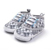 Brand G Baby boy's grey canvas gingham in fashion spring autumn sport outdoor first walker shoes