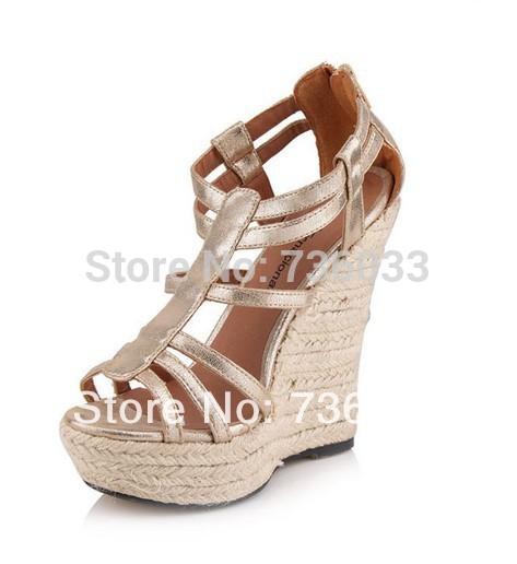HOT SALE Bohemia women summer 14 cm wedge sandals sandal fashion lady shoes soft leather gladiator high heel shoes(China (Mainland))