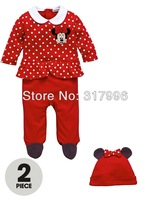 Free shipping 2014 New Arrival baby girl's minnie mouse long sleeves romper + hat set,spring rompers,baby rompers,5sets/lot