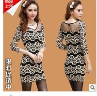 2013 autumn ol women's slim hip embroidery basic autumn and winter one-piece dress long-sleeve