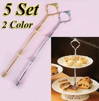 5 Set 3 Tier Cake Plate Stand Handle Fitting Silver Gold Wedding Party Crown Rod[9901442-9901443]