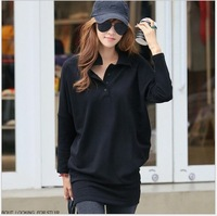 2014 New Hot Sale Fashion Cotton Women Black hip packa Ladies' Blouse shirt ull Sleeve Women Top Clothes promotion free shipping