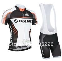 Free Shipping! CYCLING SHORTS JERSEY+BIB SHORTS 2014 NEW GIN**  Cycling Kit / Jersey / Pants Bike Clothes SET WHITE SZ:XS-4XL