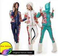 2014 CLJ Women's print design short Down Coat Set female 3 colors Trousers girl Creative innovative dress Winter Jacket clothing