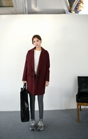 Hiphop woolen outerwear loose long design women's overcoat