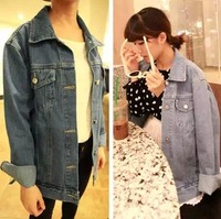 2013 autumn and winter vintage female bf water wash retro finishing denim coat plus size loose denim outerwear
