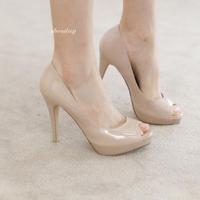 High Heels Zapatos Mujer Women Pumps Open Toe Medium(b,m) Pu New 2014 Fashion Pumps Women Genuine Shoes Hot Sale Drop Shipping