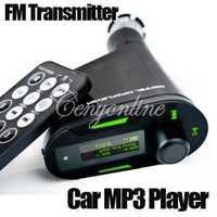 New 3.5mm Car Kit Audio Socket In-Car Green LCD FM Transmitter Radio Modulator +Remote Control With USB MMC SD LCD Free Shipping