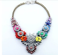 HOLLOW  SHOUROUK  luxury colorful crystal necklace gems crystal fashion vintage skeleton back fashion collar necklace 3300