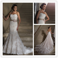 Fabulous Design Sweetheart Custom Made Lace Mermaid Wedding Dress Detachable Train