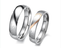 Fashion Jewelry Stainless Steel Silver Half Heart Simple Circle Real Love Couple Ring Wedding Rings Engagement Rings QLJZ1401