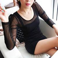 Spring 2014 new Korean Women Sexy Strapless Slim long-sleeved dress 8495 net yarn splicing
