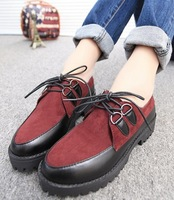 Autumn and winter fashion platform shoes flat lacing martin boots female fashion nubuck leather a2