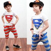 New 2014 child Pajamas Clothing set/superman baby boy clothes sets 2 piece boys fashion clothing boys sets 5sets/lot wholesaler