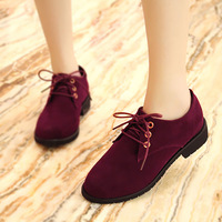 2014 british style casual fashion comfortable nubuck leather single shoes round toe women's lacing shoes
