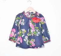 wholesale spring 2014 Girls cotton Flower printed blouses, kids girls long sleeve shirts, girls Bohemian style blouse 6pcs/lot