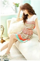2014 Hot sweet beautiful women's Fashion irregular loins striped dress with belt