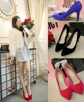Pointed Toe Lady Sexy High Heels,2014 Brand New Design Platform Pumps Dress/Party Single Shoes Red Black Blue Suede 35-39