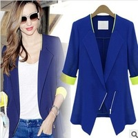 2014  new spring  Slim hit the color suits  Waist chiffon women Blazer