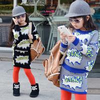 Girls Clothing Sets Wardrobe Block Letter Thick Pullover Sweater Short Skirt Set 2014 Fashion Children Clothing