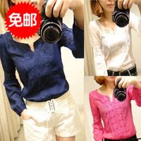 Ss 2013 autumn ol women's elegant chiffon long-sleeve shirt all-match lace shirt