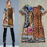 Free shipping Summer 2014 Short Sleeve Stunning Leopard Printed Silk Dress 140217D01