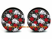 Wholesale 60pcs body piercing skulls garden acrylic inner thread screw fit ear plug gauge flesh tunnel mix 6mm-25mm A0137