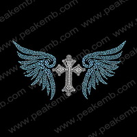 30Pcs/Lot Free Shipping Cross And Wing Rhinestone Motif Wholesale Rhinestone Heat Transfer Iron On Designs