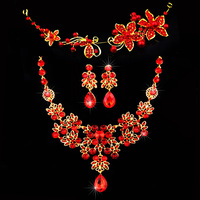 Charming  Woman  Red Butterfly  Flower  Hairwear  Crystal Gold Plated Bridal Necklace Earring Jewelry Set
