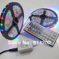 RGB 3528 LED Strip Lights 10M (2 Rolls) Waterproof 300 leds SMD Bulbs Lamp + 44 KEYS IR remote + 2A power Adapter