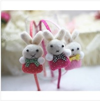 2014 New Girls Korean Style Fabric Head Stick Best Sale Lovely Cartoon Rabbit Multi-color hair sticks