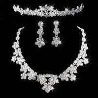 Fashion Flower Crystal Crown Tiara Necklace Earring Set Wedding Party Costume Jewelry