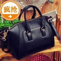 free shipping 2014 women's crocodile pattern handbag color block shoulder bag messenger bag vintage handbag bucket lether bag
