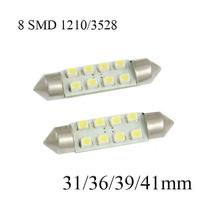 10pcs 36mm 1210 /3528 8 SMD Car Auto Interior 8 LED 3528 SMD Light White Festoon Dome Lamp Bulb
