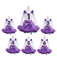 Purple Pettiskirt with Bling Purple 1st - 6th Birthday White Long Sleeves Tee