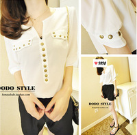 2014 spring new rivet half sleeve V-neck chiffon shirt Freeshipping wf-4302