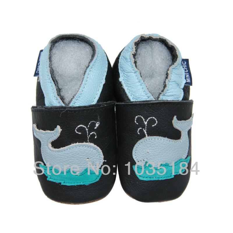 Whale Genuine Leather Newborn Boys Girls Unisex Shoes Infant Toddler Prewalker Bebe Shoes Black(China (Mainland))