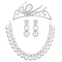 Gorgeous  Imitate Pearl Crystal Butterfly  Crown Tiara Necklace Earring Set Bridal  Wedding Jewelry