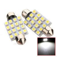 10x 36mm 3528/1210 16 SMD LED Car Dome Festoon Interior Light Bulbs Auto Car Festoon LED Roof Car Light