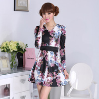 2014 spring princess dress slim waist patchwork V-neck rose flower one-piece dress millenum