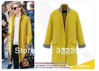 FREE SHIPPING 2014 NEW winter and autumn fashion outerwear women's one button slim long wool coat,navy and yellow large size