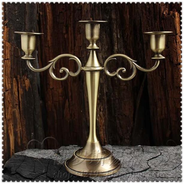 3-branch fashion bronze metal candle holder stand candlesticks wedding home decoration gift metalcraft 2003(China (Mainland))