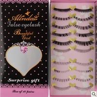 Turbidness natural long cross false eyelashes handmade 10under and 10 up eyelash Free shipping