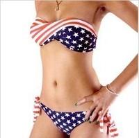 Hot-selling hot-selling american flag women's bikini swimwear big small hot spring swimwear bikini swimwear