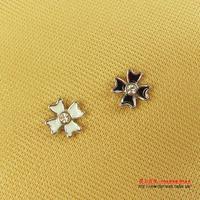 Free Shipping Black cross fashion four leaf clover rhinestone magnet stud earring no pierced magnet stud earring