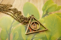 Harry Potter Resurrection Stone Luna Lovegood The Deathly Hallows Pendant Necklace Necklaces Jewellery 100pcs DHL Free Shipping
