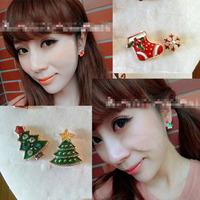 Free Shipping Christmas stud earring christmas tree asymmetrical stud earring girls earrings