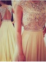 Hot Sale Fashion Design Free Shipping Custom Made Bateau Crystal Beads Chiffon Formal Evening Long Backless Prom Dresses
