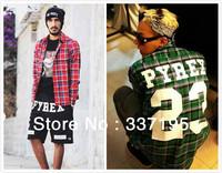New 2014 men's clothing west coa st PYREX men shirt casual shirt polo plaid shirt cotton plus size long-sleeve blouse unisex